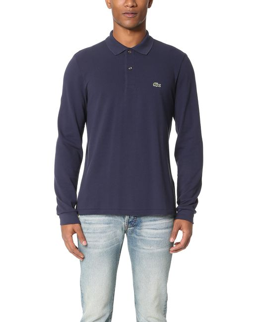 53be255df713e Lyst - Lacoste Long Sleeve Classic Pique Polo in Blue for Men - Save 29%