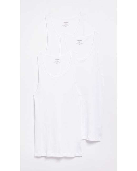 Calvin Klein - Blue Cotton Classic 3 Pack Ribbed Tanks for Men - Lyst