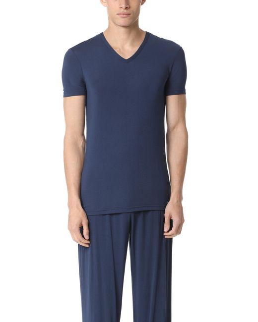Calvin Klein - Blue Short Sleeve V Neck T-shirt for Men - Lyst