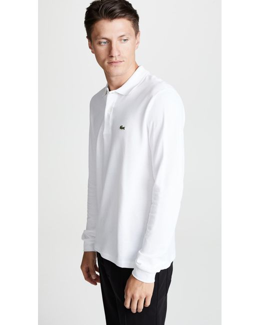 f1940f65 ... Lacoste - L1312 White Classic Fit Long Sleeved Pique Polo Shirt for Men  - Lyst ...