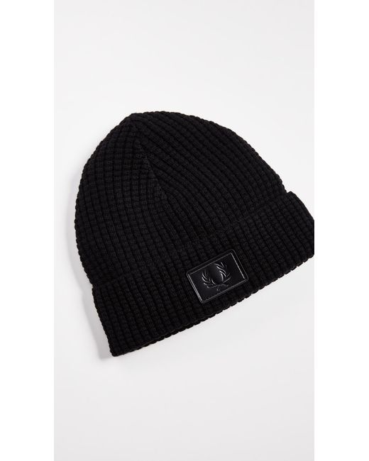 a5331f5fd Lyst - Fred Perry Waffle Knit Beanie in Black for Men - Save 33%