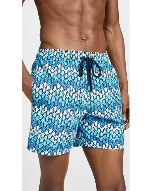 8d8120a0a8 Vilebrequin - Blue Herringbone Turtles Moorea Swim Trunk for Men - Lyst ...