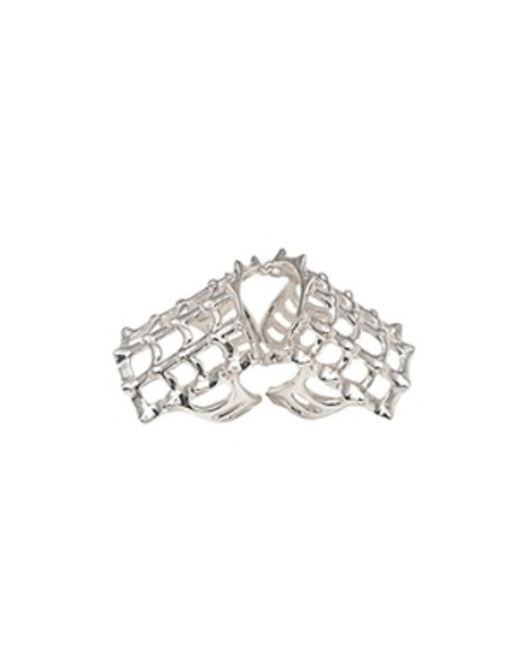 Bernard Delettrez | Metallic Cage And Studs Articulated Silver Ring | Lyst