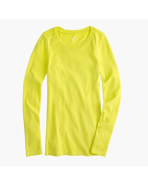J.Crew | Yellow Perfect-fit Long-sleeve T-shirt | Lyst