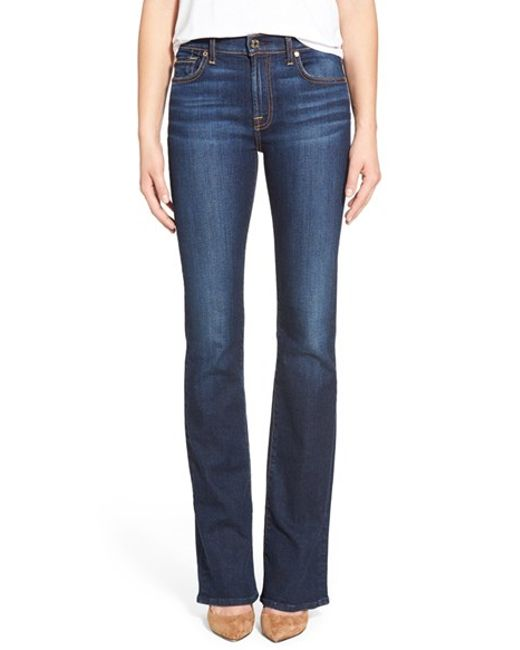 for all mankind 39 tailorless 39 bootcut jeans in blue new york dark. Black Bedroom Furniture Sets. Home Design Ideas