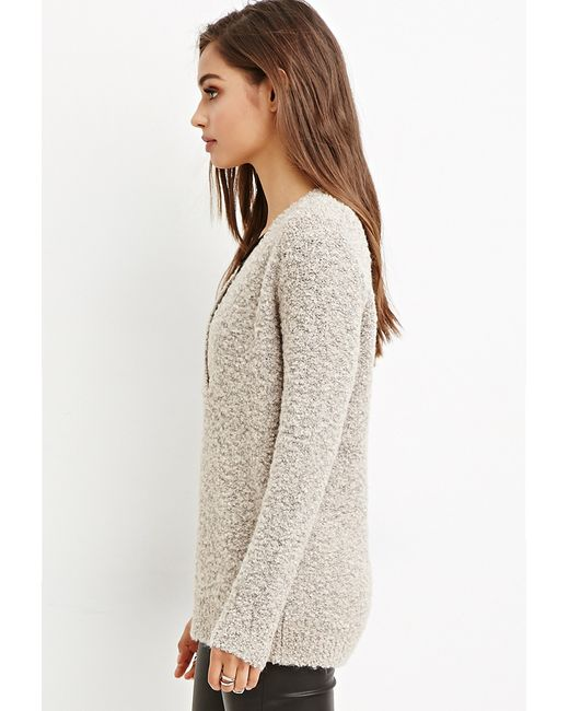 Forever 21 | Brown Loop Knit V-neck Sweater | Lyst