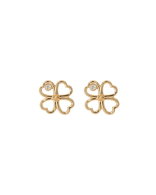 Aurelie Bidermann | Metallic Fine Jewellery - 18k Clover Single Earring With Diamond | Lyst