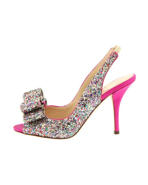 kate spade charm heel in multicolor multi sparkle glitter