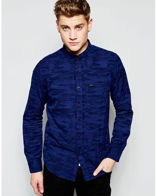 Lee Jeans Button Down Shirt In Blue For Men Navy Lyst