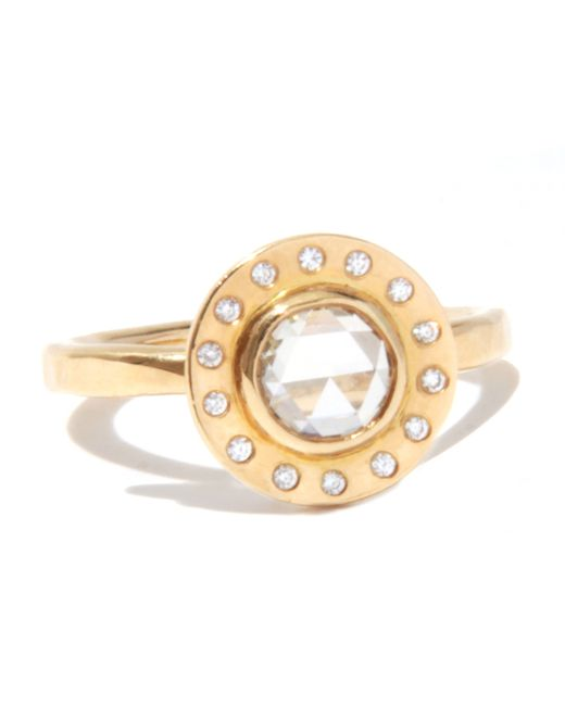 Melissa Joy Manning | Metallic Clear Rosecut Diamond Ring With White Diamond Halo | Lyst