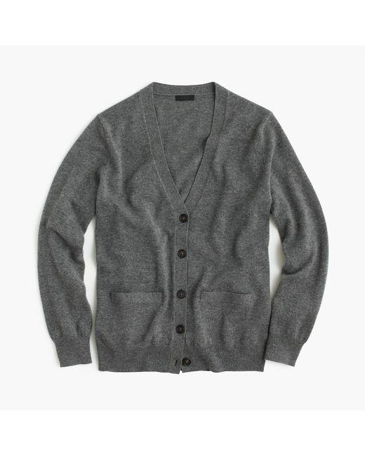 J.Crew | Gray Italian Cashmere Boyfriend Cardigan Sweater | Lyst