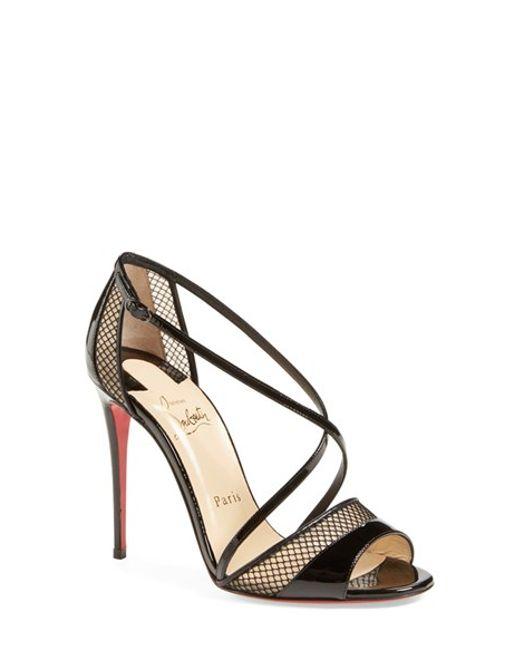 cheap christian louboutin shoes replica - Christian louboutin Slikova Open-Toe Leather Sandals in Black ...