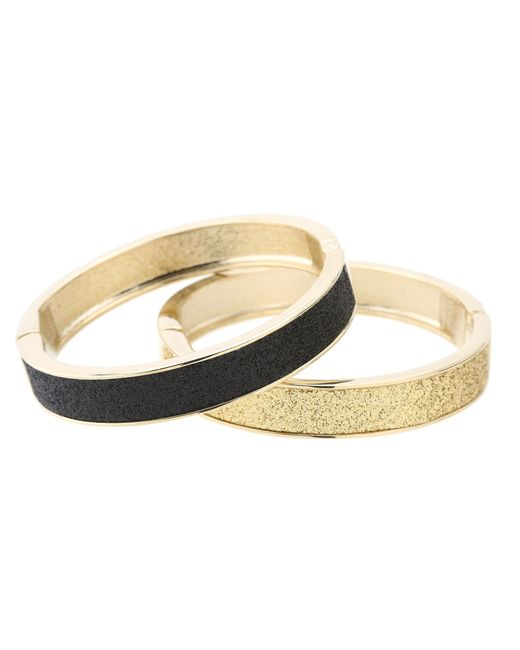 Betsey Johnson   Metallic Classic Boost Black And Gold Duo Hinged Bangle   Lyst