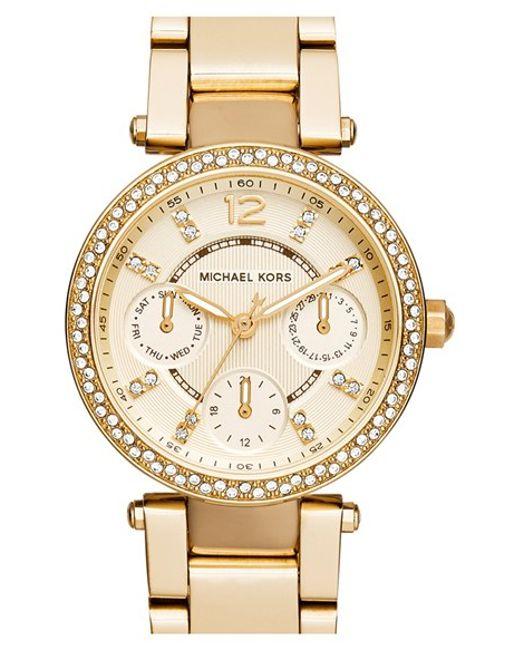 MICHAEL Michael Kors | Metallic Michael Kors 'mini Parker' Multifunction Bracelet Watch | Lyst