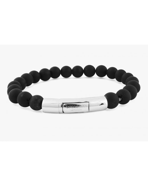 Tateossian | Semi-precious Black Agate Stone Beaded Bracelet for Men | Lyst