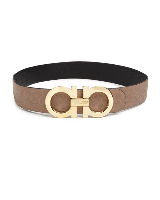 ferragamo gancini large reversible leather belt in brown
