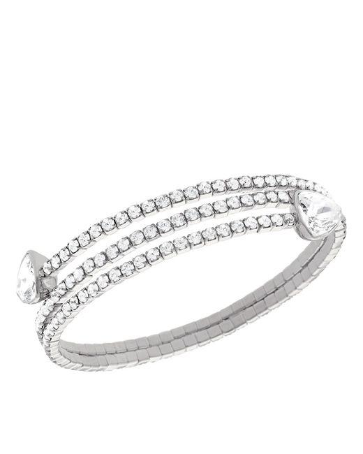 Swarovski | Metallic Silvertone And Crystal Twisted Bangle Bracelet | Lyst