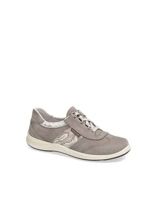 Mephisto | Gray Laser Perforated Walking Shoe | Lyst