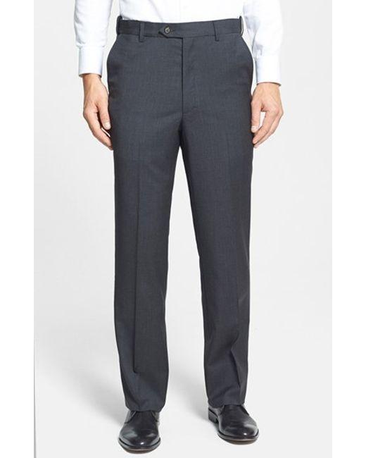 Berle   Gray Self Sizer Waist Flat Front Wool Trousers for Men   Lyst