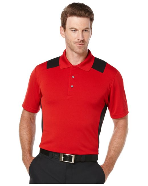 Pga tour men 39 s big tall airflux colorblocked performance for Large tall golf shirts