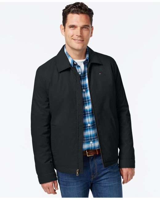 Tommy Hilfiger Full Zip Micro Twill Jacket In Black For