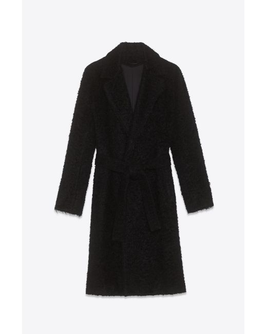 Helmut Lang | Black Shaggy Wool Belted Overcoat | Lyst