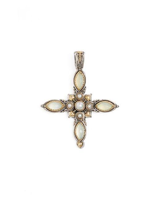 Konstantino | White 'amphitrite' Pearl & Semiprecious Stone Maltese Cross Pendant | Lyst
