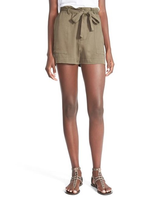 Mimi Chica | Green Tie Front Shorts | Lyst