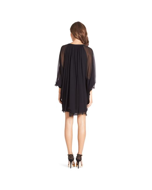 Diane von Furstenberg | Black Fleurette Silk-Chiffon Kaftan Dress | Lyst