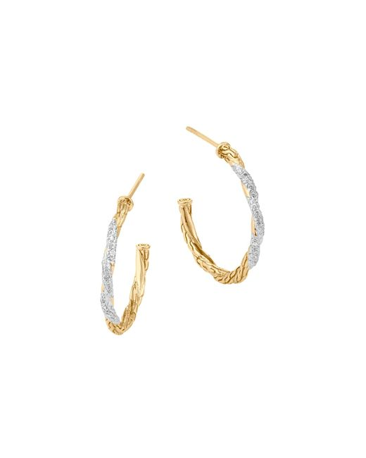 John Hardy | Metallic Classic Chain 18k Gold Diamond Pavé Small Hoop Earrings | Lyst