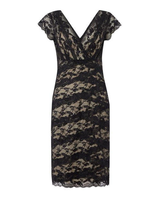 JS Collections | Black Lace Sequin Shutter Dress | Lyst