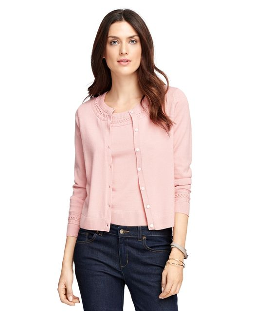 Brooks Brothers | Pink Saxxon Wool Cardigan | Lyst