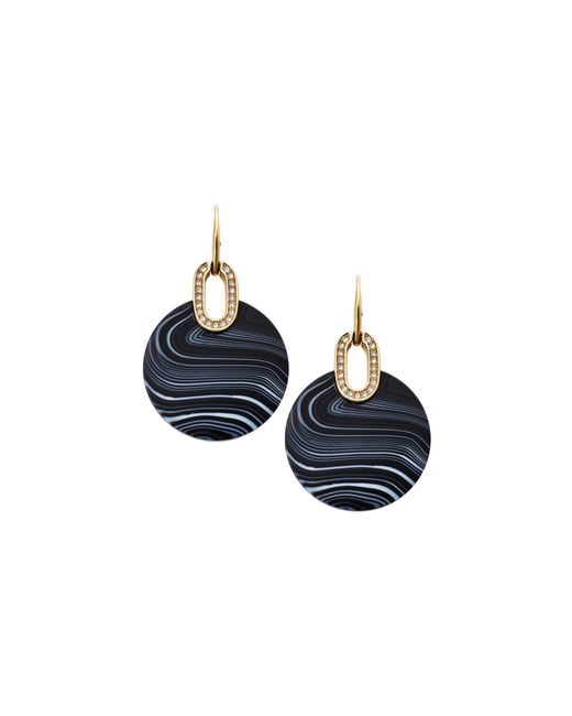 Michael Kors | Metallic Gold-tone Black Agate Disc Drop Earrings | Lyst