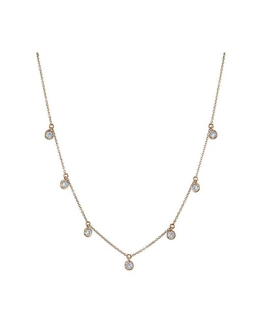 SHAY - Metallic Rose Gold Bezel Dangle Necklace - Lyst