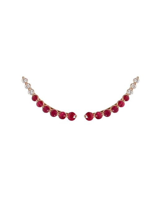 Anita Ko | Red Floating Diamond And Ruby Earring | Lyst