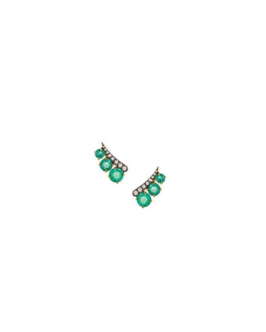 Women's Green Emerald Ear Climber by Jemma Wynne