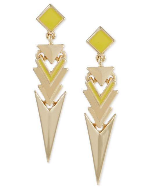 French Connection | Yellow Gold-tone Geometric Triangle Earrings | Lyst