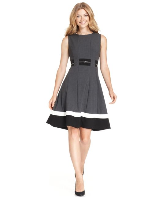 Calvin Klein Petite Colorblocked Belted Fit U0026 Flare Dress In Gray (Charcoal/Black) | Lyst