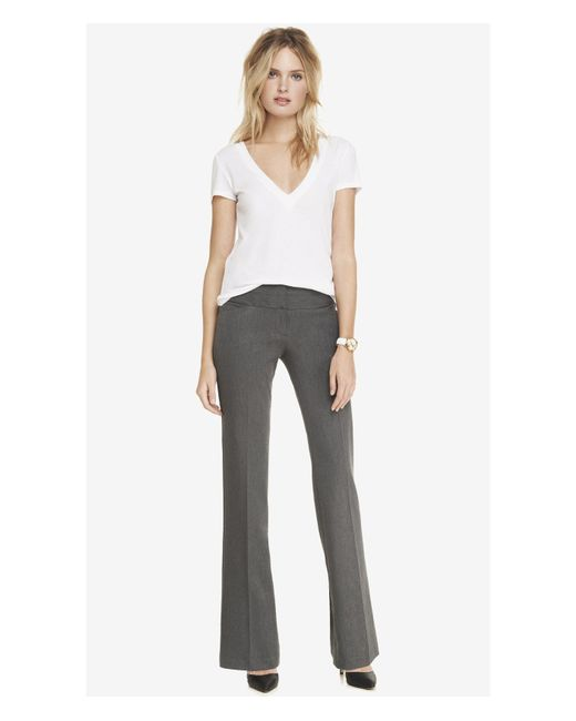 Express | Gray Low Rise Flare Wide Waistband Editor Pant | Lyst