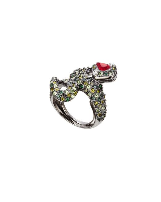 Kenneth Jay Lane | Metallic Crystal Cocktail Ring - Green | Lyst