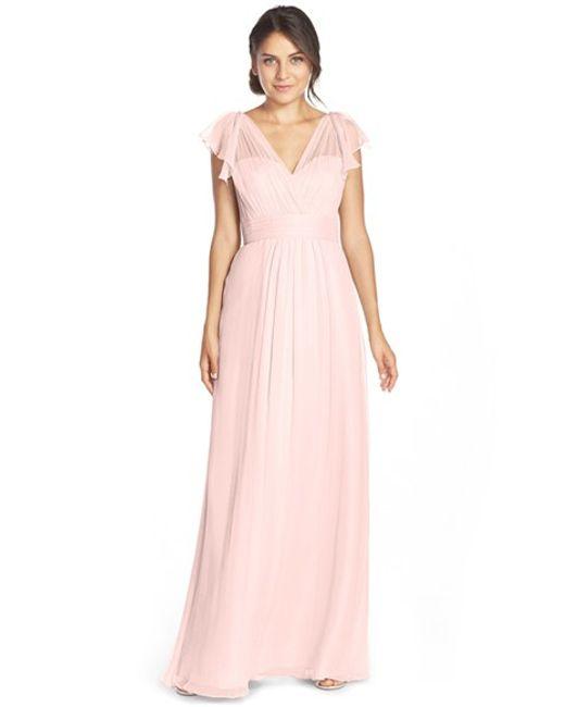 Amsale | Pink Flutter Sleeve Silk Chiffon Gown | Lyst