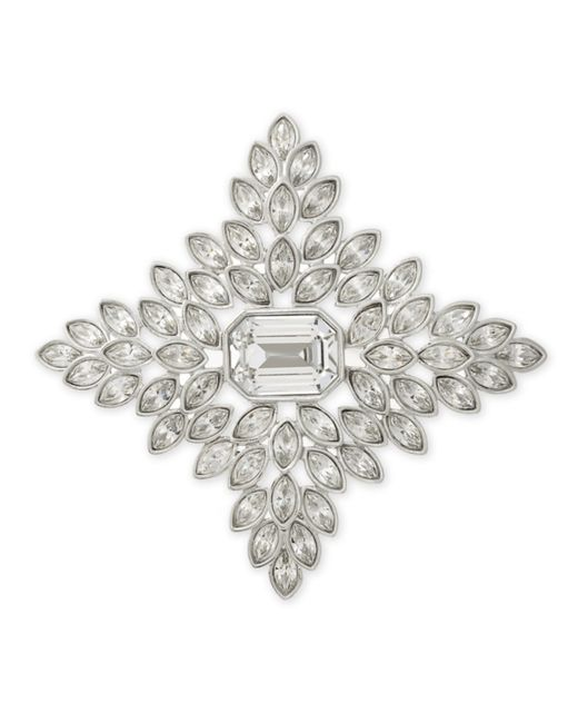Kenneth Jay Lane | White Crystal Cruciform Brooch | Lyst
