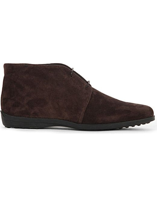 tod 39 s polacco suede desert boots in brown lyst. Black Bedroom Furniture Sets. Home Design Ideas