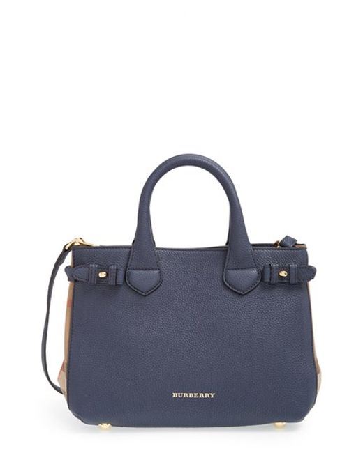 Burberry | Blue 'small Banner' House Check Leather Tote | Lyst