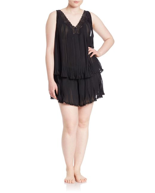 Oscar de la Renta | Black Plus Two-piece Plisse Top And Shorts Set | Lyst