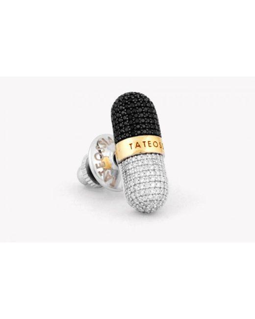 Tateossian | Metallic Pill Xxv - Diamond Silver & Gold Micro Pavé Pin for Men | Lyst