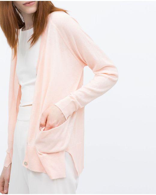 Zara   Pink Knit Cardigan With Pockets   Lyst