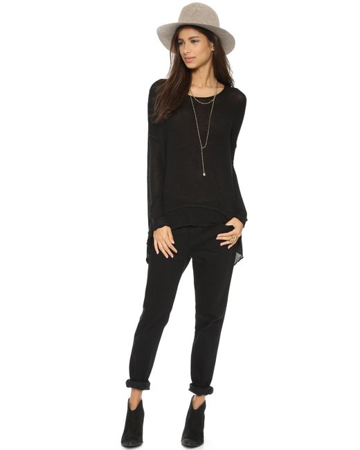 Free People | Black Shadow Hacci Pullover - Alabaster Combo | Lyst