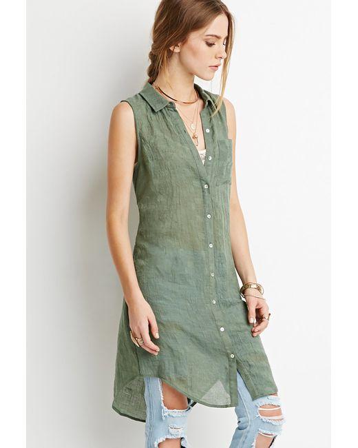 Forever 21 | Green Check-textured Shirt Dress | Lyst