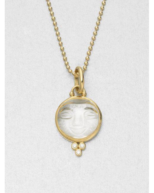 Temple St. Clair   Metallic Celestial Rock Crystal, Diamond & 18k Yellow Gold Medium Moonface Pendant   Lyst